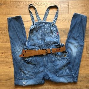 Only Reversible Distressed Boyfriend Overall Jeans